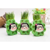 太阳妹妹  陶瓷花盆 草娃娃花盆  陶瓷茶具  桌面小植物