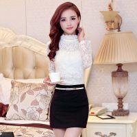 韩版2014年秋冬新款年轻时尚优雅经典修身蕾丝打底衫上衣