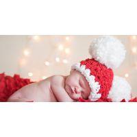 韩国可爱大球球宝宝毛线帽子 婴儿新年礼物 百天摄影道具