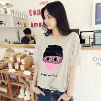 2015韩版夏装宽松大码中长款短袖女士t恤棉 卡通时尚打底衫潮