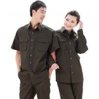 夏季男女休闲短袖纯棉衬衫套装长袖工作服时尚工装耐磨半袖912