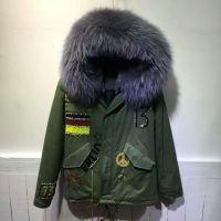 灰色德国钉珠款冬季棉服 厚实毛内胆 男女同款军绿大衣