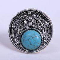 欧美复古时尚 合金椭圆雕花绿松石戒指 可调节大小  厂家直销