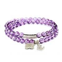 舞魅水晶 正品紫水晶手链 紫晶多层女款 时尚开运手串 配925银