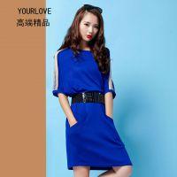 秋装新款欧洲站女装大码高端精品蝙蝠袖欧美品牌针织连衣裙代理