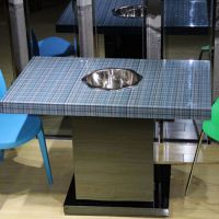 厂家特价 不锈钢箱体桌脚 暗装炉子玻璃面火锅桌 台面大理石餐桌批发