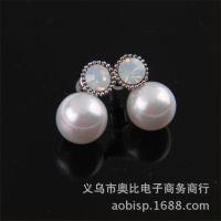 E324珍珠耳环宋慧乔 镶蛋白石高档超闪耳环气质女必备款