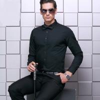 精品经典2016春季男士商务长袖翻领衬衫TRUMP MAN黑色白色棉类混纺标准领男式衬衣镇江