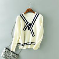 秋季女装韩版蝴蝶结圆领长袖修身打底衫针织衫套头毛衣女
