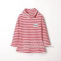 三色入~ 外贸秋冬新款 儿童针织条纹加绒套头高领打底衫 W1201