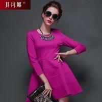 欧美大牌2014秋冬装优雅条纹收腰显瘦紫色七分袖连衣裙 Q14L10004