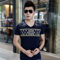 男装新款2015夏季男式短袖男t恤 丝光棉休闲V领修身潮流打底衫