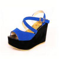 【清仓 批发】鱼嘴凉鞋夏季坡跟鞋厚底防水台高跟鞋优雅女鞋子