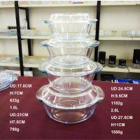 厂家直销 高硼硅耐热玻璃器皿 2.0L璃水晶煲 平底玻璃烤盘