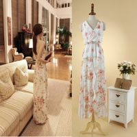 2015夏季新款韩国东大门优雅气质印花长裙 性感露背吊带连衣裙