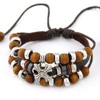 欧美时尚 名族风金属十字架木珠皮质多层手链