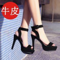 外贸夏新款韩版牛皮磨砂凉鞋金属扣防水台锥形高跟鞋防滑底女鞋