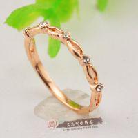 AA5798   韩版时尚简约镀18K玫瑰金戒指对戒结婚光面戒指单钻戒指