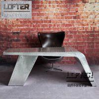 LOFT工业风老板桌铝皮铆钉纯手工大班桌电脑桌