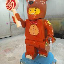 树脂雕塑柔道机器人乐高运动员玩偶玻璃钢卡通跆拳道乐高积木玩具
