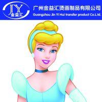 厂家供应环保袋无纺布袋热转印烫花 迪士尼童装灰姑娘LOGO柯式烫画