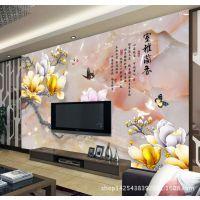3d电视背景墙壁纸 室雅兰香玉兰花彩雕  酒店壁画工装拉丝纹墙布