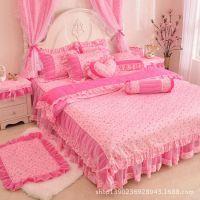 韩式公主床品全棉蕾丝田园被套纯棉床上用品春夏四件套韩版婚庆