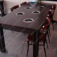 热卖定做 韩式老榆木火锅餐桌 大排档专用方桌椅 长条状多人位火锅餐台