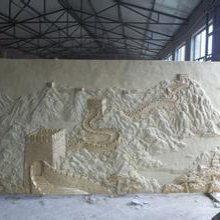 长城雕塑长6米宽2米砂岩长城浮雕酒店大厅米黄色人造砂岩长城壁画定做