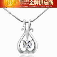 S925纯银珠宝首饰 时尚百搭五叶草项链吊坠  瑞士高级钻石吊坠