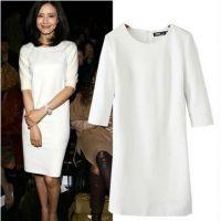 2015新款欧美风高圆圆明星同款罗马针织白色长袖修身连衣裙 C852