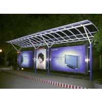 生产供应带换画灯箱的公交候车亭 不锈钢材质制作的带有滚动灯箱的候车亭灯箱--114