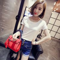 【小颖家】2015夏装新款韩版修身短款圆领必备显瘦打底衫t恤 G