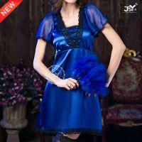 欧美新款蓝色性感奢华高贵女士蕾丝睡裙 情趣睡裙工厂直销9666