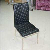简约现代不锈钢餐椅 黑白色软包PU皮餐桌椅 网格纹休闲靠背椅