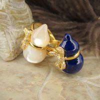 新款立体葫芦戒指 精镶蝴蝶结 澳洲珍珠贝&阿富汗青金石 纯银镀金