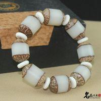 阴阳大菩提根佛珠手串手链 自然米白菩提原籽镶骨片手链 菩提手串
