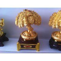 树脂镀金摇钱树 新房装饰 招财用品 开业礼品 金色发财树