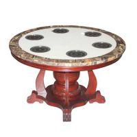 实木电磁炉火锅桌定做 美式火锅餐厅桌 东北桦木火锅台热卖