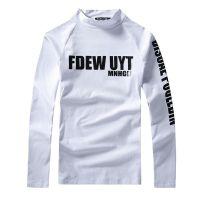 秋冬加厚长袖t恤男装打底衫青少年加绒韩版修身纯色高领潮D11X25