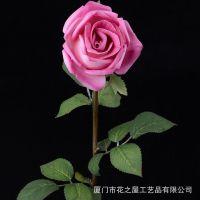 批发 仿真花玫瑰花 PU假玫瑰花 单枝 婚庆花束 仿真玫瑰 外贸出口
