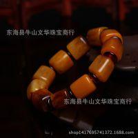 批发 纯天然波兰琥珀老黄蜜蜡桶珠手链 磨砂老蜜蜡佛珠手链