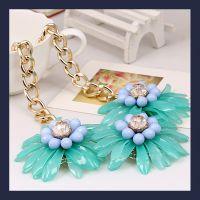 欧美时尚大牌项链 彩色夸张亚克力树脂宝石花朵项链 外贸原单饰品