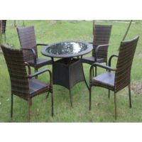 编藤桌椅组合 玻璃桌面 会所咖啡厅花园休闲桌椅套装 一桌四椅