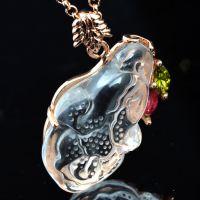 白水晶玫瑰金吊坠 白菜宝石吊坠 招财辟邪冰种宝石挂件 090036