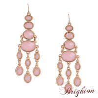 布莱顿饰品 速卖通分销货源 欧美大牌长款流苏大宝石耳环一件代发