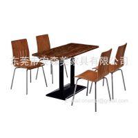 长方形人造石餐桌 餐饮连锁店家具 不锈钢弯板椅(T573#)