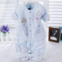 15年儿童春款 健康快车5016婴幼儿薄棉两件套 宝宝天鹅绒保暖套装