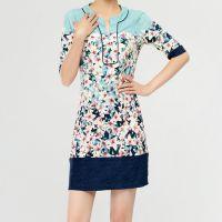 2015春夏新款女装外贸出口美国印花直筒韩国丝原单尾货连衣裙批发