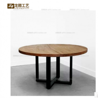 LOFT美式复古实木大圆餐桌圆桌 铁艺饭台桌乡村田园工业桌客厅桌